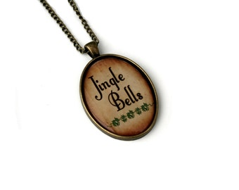 Jingle Bells Necklace, Christmas Song Cameo Necklace, Xmas Illustration, Stocking Stuffer