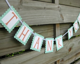 Thank You Banner in Mint and Coral orange - Wedding Photo Prop Sign