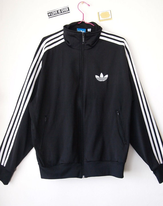 Adidas Vintage 90s Track Jacket Zip Up Trefoil Black And