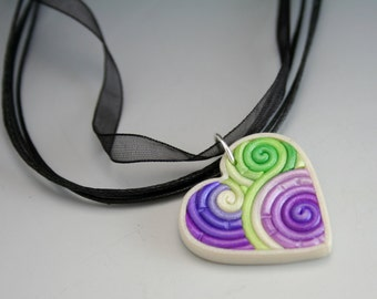 SALE Purple and Green Heart Pendant in Polymer Clay Filigree Valentine's Day Gift