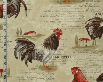 Rooster toile fabric country chicken French writing interior home decorating material 1 yard