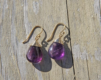 Amethyst Drops, Wire Wrapped, 14K Gold Wires
