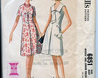 McCall's 1960s 6851 Dress Pattern Semi-Fitted & Flared, Inverted Front Pleat, Sleeve Variations, V Neck or Sailor Collar with Tie Bust 33
