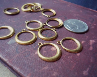 12 brass hoop charms - vintage raw brass old new stock - charm connector jewelry supplies
