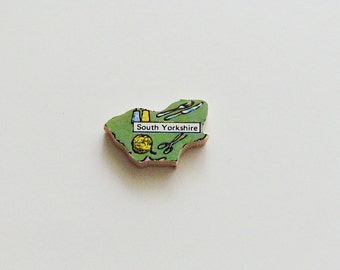 South Yorkshire England Brooch - Lapel Pin / Upcycled 60s Wood Puzzle Piece / Unique Wearable History Gift Idea / Timeless Gift Under 20