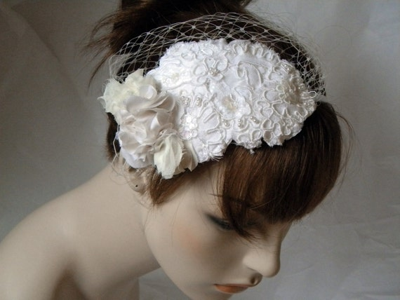 RESERVED FOR SARAH-Bridal Birdcage Blusher Veil with Ivory Lace Headband, Bridal headpiece, Bridal fascinator ,Wedding hair, Headpeices