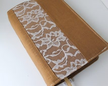 Custom Bible Cover - Linen and lace - Handmade - Custom Sized - Brown Linen with Lace Inset -