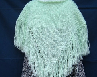 Girl's Mint Green Fringed Poncho