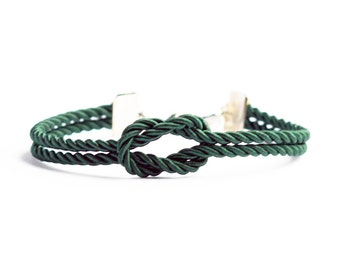 Dark green forever knot nautical rope bracelet with silver or gold anchor charm