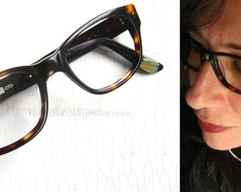 US Optical Horn Tortoise Hipster Eyeglass Frames Vintage 1980's USO Italy