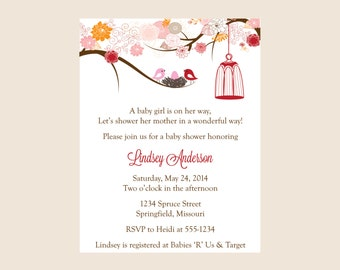 Baby shower invitation, Birdcages Shower invitation (set of 10)
