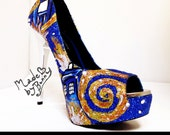 Dr. Who Starry Night Exploding Tardis Shoes with Glitter and Crystal Rhinestones