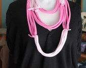 upcycle 2-tone Pink t-shirt scarf infinity fabric necklace eco-friendly recycled woman teens