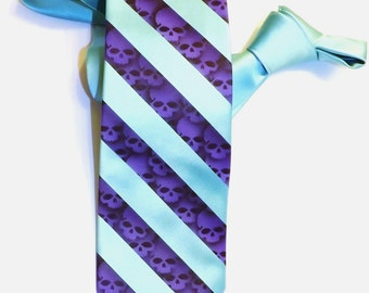 Custom color skull necktie mens tie print to order
