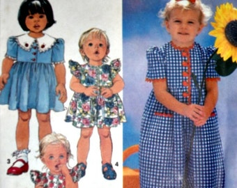 Toddlers' Romper In Two Lengths And Dress, Simplicity 7703 Sewing Pattern, Sizes 1/2-1-2, Factory Folded,