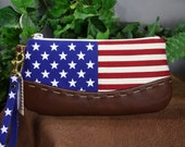 American Flag Wristlet Clutch, Leather & Canvas Stars and Stripes Americana Zipper Bag, Red White and Blue American Flag Handmade in the USA
