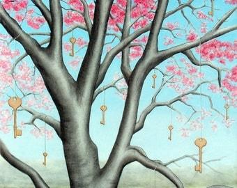 "Key of Life 2 - original mixed media painting on canvas, 26"" x 32"""