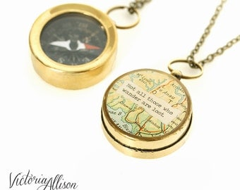 Small Map Compass Necklace, Not All Those Who Wander Are Lost or Personalized Quote, Working Compass, Graduation, Inspirational
