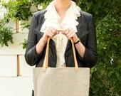 Sale with coupon code--Desert Tote- Linen and Leather Tote Bag