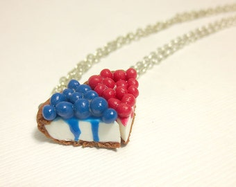 Berry CheeseCake Necklace (Pick One), Miniature Food Jewelry, Polymer Clay Food Jewelry
