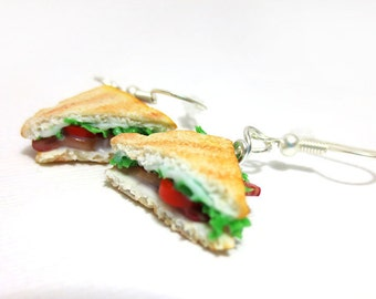 BLT Earrings, Miniature Food Jewelry, Polymer Clay Food Jewelry