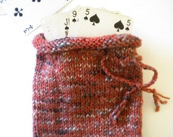Knit Drawstring Bag / Orange Black White Bag / Hand Knit Pouch / Fall Knitted Purse / Knit Rune Bag / Small Bag