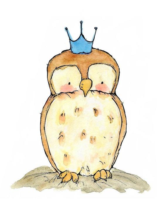 Children's Art -- Royal Little Owl -- Archival Print