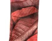"SILK SCARF  -  ""Canadian Cherry"" Fine Art Fallen Leaf Image on Habotai Silk - 14"" x 72"" - wearable art"