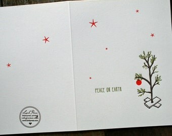 Charlie Brown christmas tree holiday letterpress cards