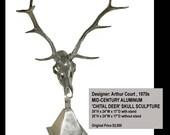 Aluminum Deer Skull with stand by Designer Arthur Court, 1970s
