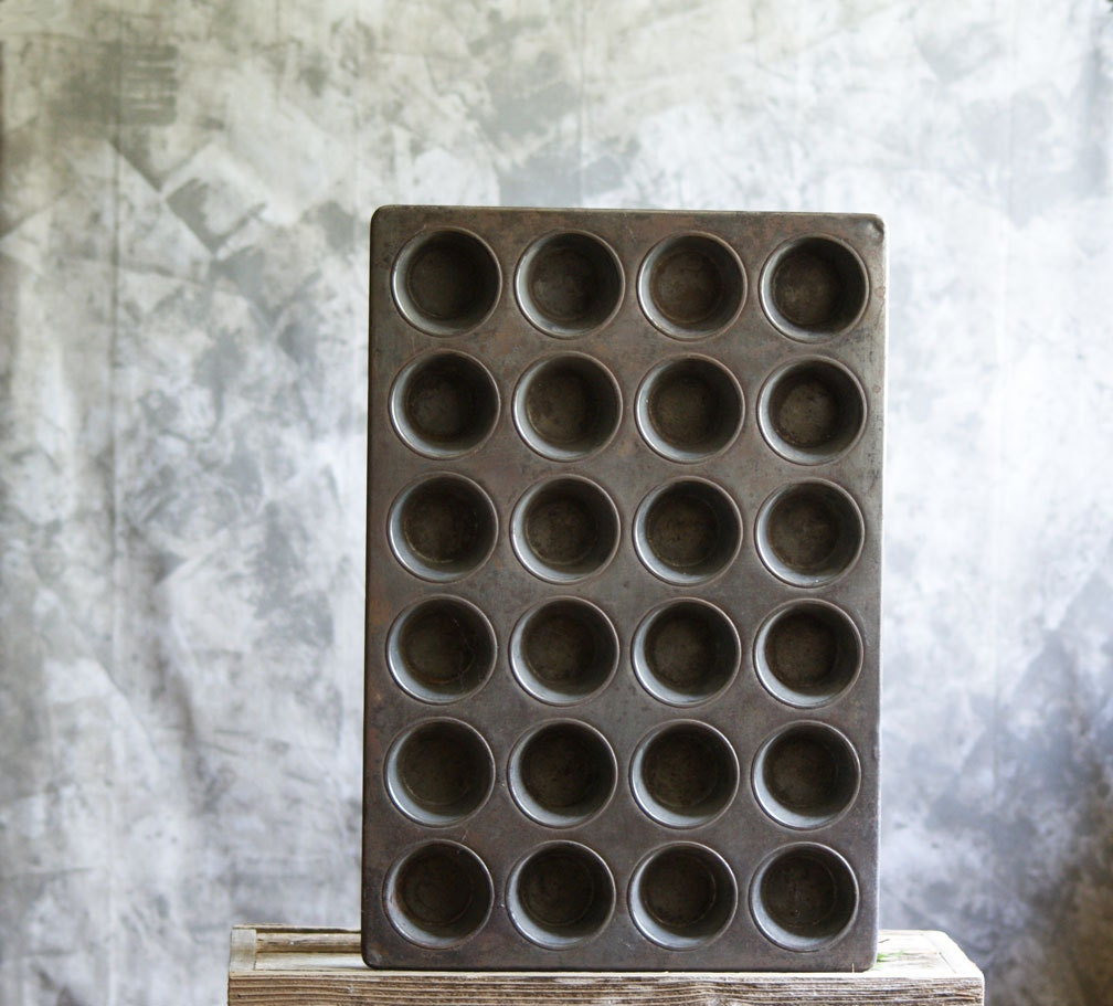 Vintage Cup Cake Pan Or Muffin Tin Large Industrial Bakery
