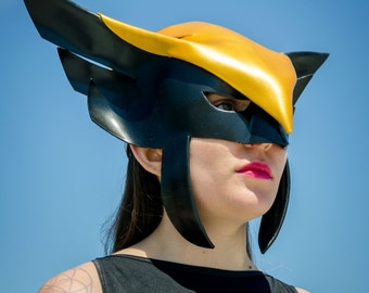 Hawkgirl cosplay, leather mask, Halloween costume, leather helmet, LARP, Made to Order
