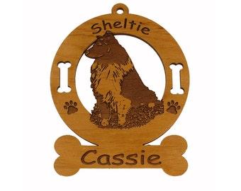 3931 Sheltie BiBlack Sitting Personalized Dog Ornament