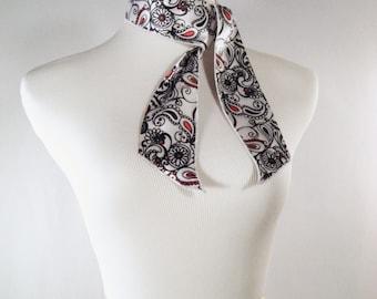 Ponytail Scarf - Headband - Hatband - Purse Scarf - White Black Red Paisley Print - Shiny Silky Satin