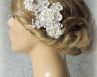 Bridal hair accessory, wedding ivory hair comb, Champagne hair accessories,  pearl hair clip