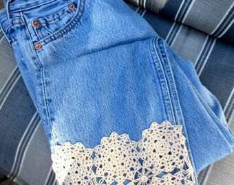Upcycled Vintage Levis Denim 501 Blue Jeans Made in France Paris French Tattered Grunge Boho Hippie Cowgirl Flower Child