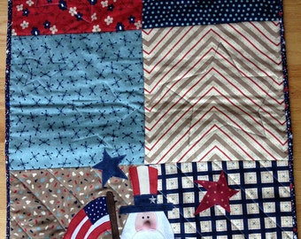 Uncle Sam Quilted Table Runner, Americana, Red White Blue Decoration