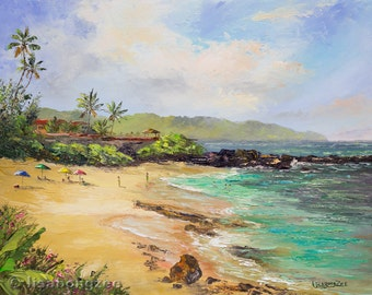 NORTH SHORE HAWAII Original Oil Painting Three Tables Beach Art Oahu Tropical Ocean Island Surf Surfing Palm Tree Snorkel Vacation Paradise
