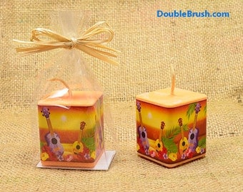 Ukulele Candle Hawaiian Honeymoon Hawaii Sunset Luau Party Favor Tropical Beach Favor Tropical Bridal Shower Favor Made in Hawaii Soy Candle