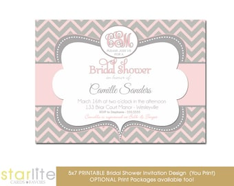 Monogram Bridal Shower invitation, Pink and Gray Chevron Monogram Bridal Shower Invitation, Printable Invitation, Printed Invitations