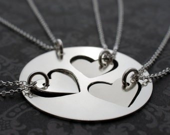 Mother Daughter Jewelry - Custom Cut Heart Necklace Set for Three Daughters - Mother's Jewelry in Sterling Silver