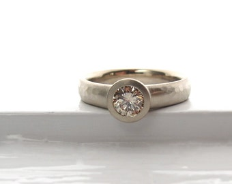 Recycled white gold and Champagne diamond bezel set  solitaire low profile engagement ring with wide hammered band
