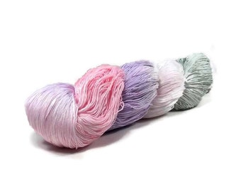 150 Yards Hand Dyed Cotton Crochet Thread Size 10 3 Ply Specialty Thread Pale Lavender Sage Pink White Hand Painted Fine Cotton Yarn