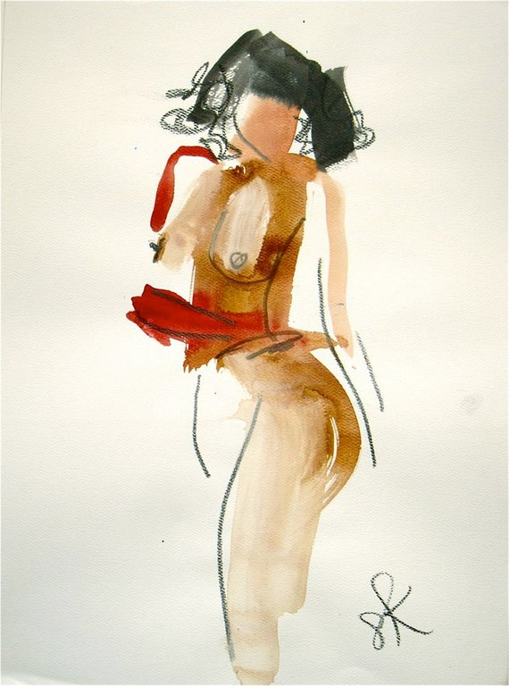Nude painting- One minute pose CXVI.3  by Gretchen Kelly