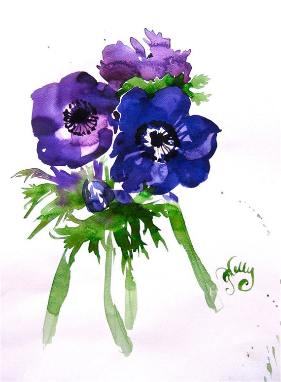 Watercolor flower painting-Blue Anenomies Bouquet- original by Gretchen Kelly