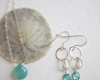 Bridesmaid jewelry, Aqua gemstone necklace set, seafoam aqua Chalcedony pearl sterling silver gemstone necklace