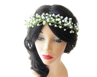 Small WHITE flower  head wreath, bridal head piece, artificial baby's breath flower crown, wedding hair accessory
