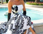 Custom Bespoke Off-beat Couture Black & White Damask Wedding Dress with Anemone Floral Applique