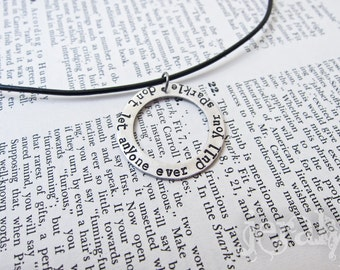 Hand Stamped Large Washer Pendant With Leather Cord Necklace - Aluminum, Aluminium, Lightweight, Hypoallergenic