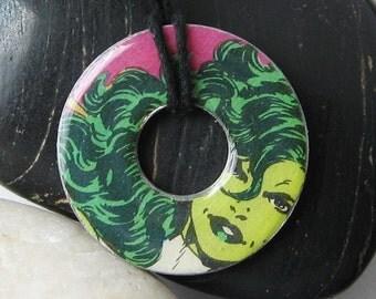 SHE-HULK Vintage Upcycled Comic Book Washer Pendant Necklace Marvel Comics Fantastic Four The Avengers